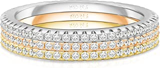 14K Gold Plated Sterling Silver Cubic Zirconia Stackable Ring Eternity Bands for Women