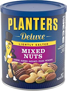 PLANTERS Deluxe Lightly Salted Mixed Nuts, 15.25 oz. Resealable Container - Reduced Sodium Mixed Nuts with Cashews, Almond...
