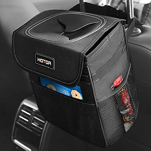 lowest HOTOR Car Trash Can with Lid and Storage Pockets, 100% Leak-Proof Car Organizer, Waterproof Car Garbage Can, Multipurpose Trash Bin for Car discount high quality - Black sale