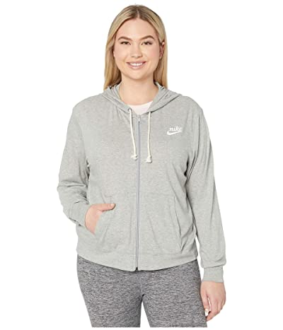 Nike Plus Size NSW Gym Vintage Hoodie Full Zip (Dark Grey Heather/Sail) Women