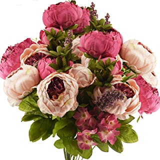 FiveSeasonStuff Vintage Artificial Peonies Silk Peony Flowers and Hydrangeas for Wedding Bridal Home Décor – Beautiful Flo...
