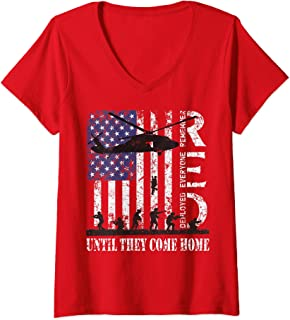 Womens RED Friday Military Remember Everyone Deployed Army Veteran V-Neck T-Shirt