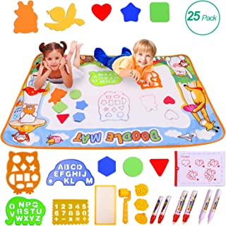 Miserwe Large Aqua Doodle Mat Water Writing Doodle Drawing Mat Neon Colors Board, with 25 Pack Drawing Accessories for Kids Toys Toddlers Educational Girls Boys Size 39.3