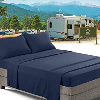 RV/Short Queen Bed Sheets Set Bedding Sheets Set for Campers, 4-Piece Bed Set, Deep Pockets Fitted Sheet, 100% Luxury Soft Microfiber, Hypoallergenic, Cool & Breathable, Navy Blue