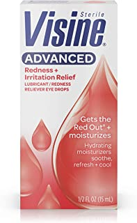 Visine Advanced Redness + Irritation Relief Eye Drops for Dry, Irritated & Red Eyes, Lubricant & Redness Reliever to Hydrate, Soothe, Cool & Refresh, 0.5 fl. oz