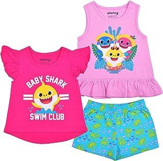 Nickelodeon Baby Shark 3 Pack Shirt and Short Set for Girls, Short and Sleeveless Tee