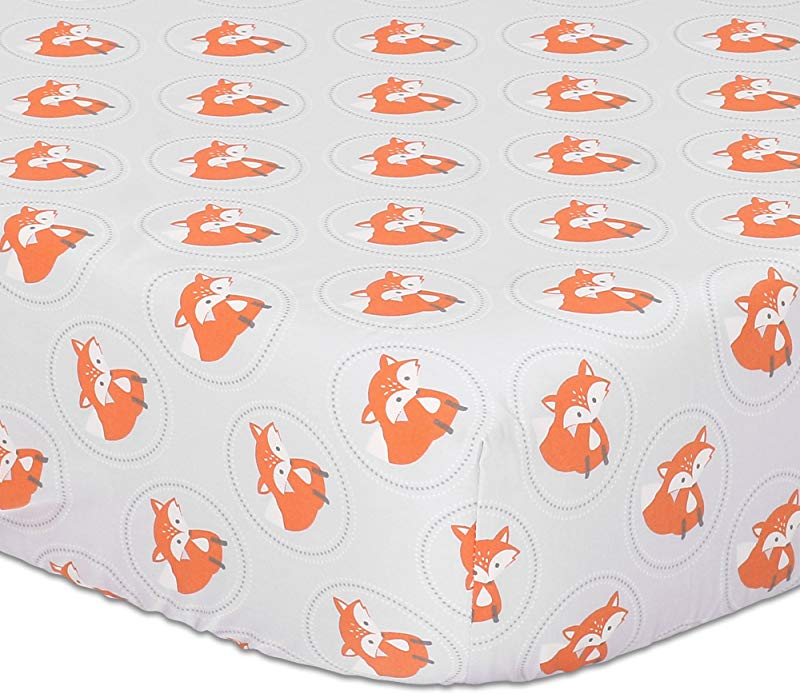Orange Fox On Grey Print Fitted Crib Sheet 100 Cotton Baby Boy And Girl Forest Animal Theme Nursery And Toddler Bedding