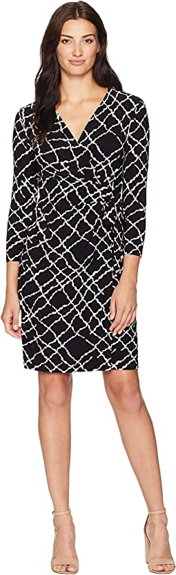 Wrap Dress Greenwich Tartan Print Jersey