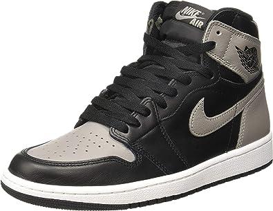 Jordan mens Nike Men's Air Jordan 1 Retro High Og Black/Grey/White 555088-013