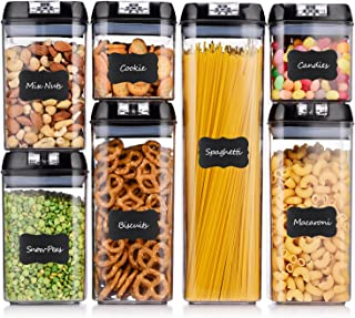 ME.FAN Airtight Food Storage Container Set [7-Piece Set] Durable Seal Pot- Cereal Storage Containers - 24 Chalkboard Label - Kitchen Cabinet Organization - BPA Free - Clear Plastic with Black Lid