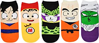 Dragon Ball Z Socks Women & Girls (5 Pair) - Goku, Gohan, Cell, Krillin, Piccolo Low Cut Socks - Fits Shoe Size: 4-10 (Ladies)