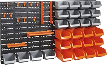 VonHaus 44 Piece Wall Mounted Pegboard Hook, Storage Bins and Panel Set - DIY Garage Storage Wall Mount System with Rack and Bin Accessories - Tool, Parts and Craft Organizer