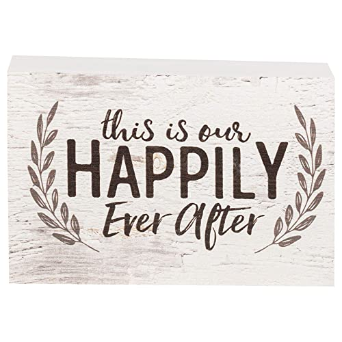 Personalised solid pine cubes shelf sitter happily ever after wedding gift
