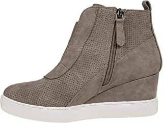 Womens Platform Wedge Sneakers Ankle Heels High Top Side Zipper Height Increasing Platform Booties
