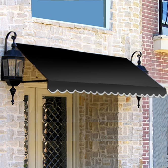 3 38 Ft Wide Dallas Retro Window Entry Awning 31 In H X 24 In D Black Garden Outdoor Amazon Com