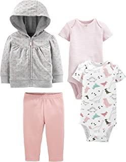 Baby Girls' 4-Piece Fleece Jacket, Pant, and Bodysuit Set