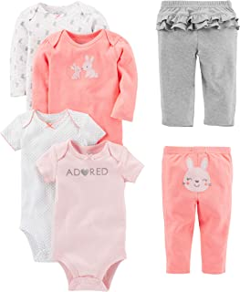 Simple Joys by Carter`s Baby Girls` 6-Piece Bodysuits (Short and Long Sleeve) and Pants Set