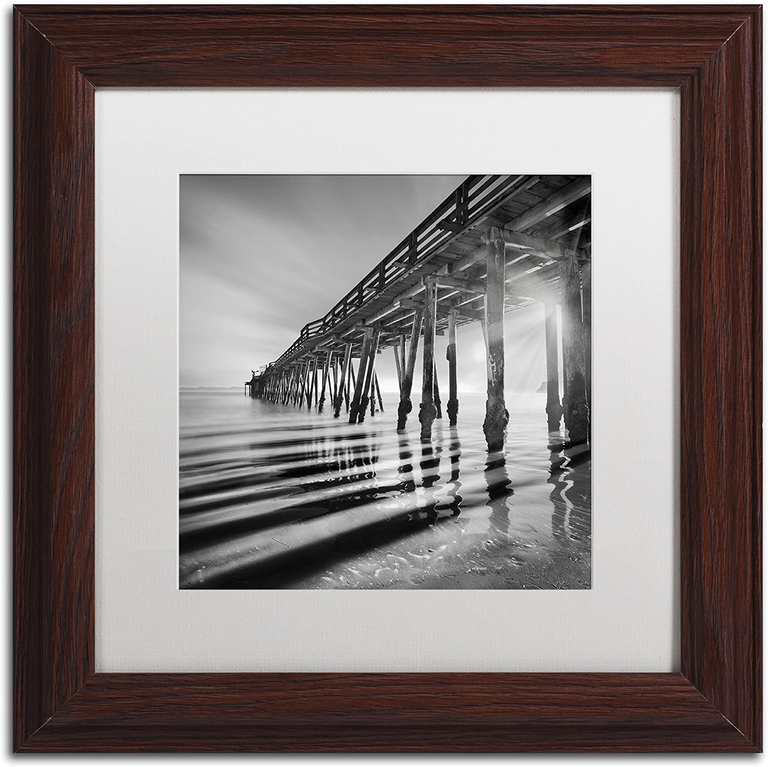 Trademark Fine Art Pier and Shadows by Moises Levy in White Matte and Wood Framed Artwork, 11 by 11Inch