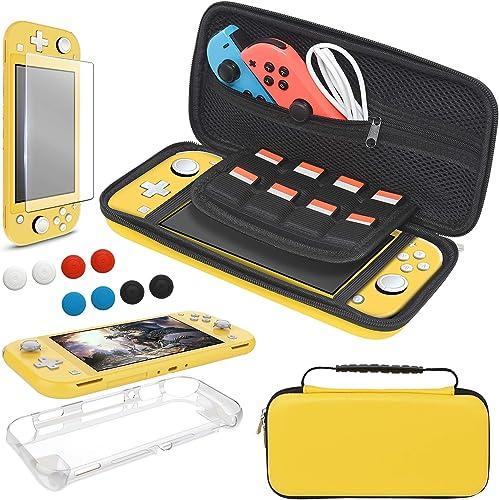 YUANHOT 3 in 1 TPU Kit Accessoires pour Nintendo Switch Lite, Comprenant Coque Housse Transparente, Protection Écran ...