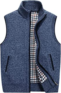 HOW'ON Men's Stand Collar Loose Zipper Sleeveless Knitted...