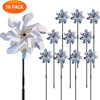 Ohuhu Reflective Pinwheels with Stakes, 10-Pack Extra Sparkly Pin Wheel for Garden Decor, Bird Repellent Devices Deterrent to Scare Birds Away from Yard Patio Garden Farm