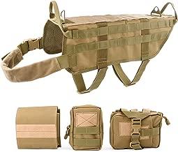 JASGOOD Tactical Dog Vest Harness Handle Training Dog Vest with Detachable Molle Pouches