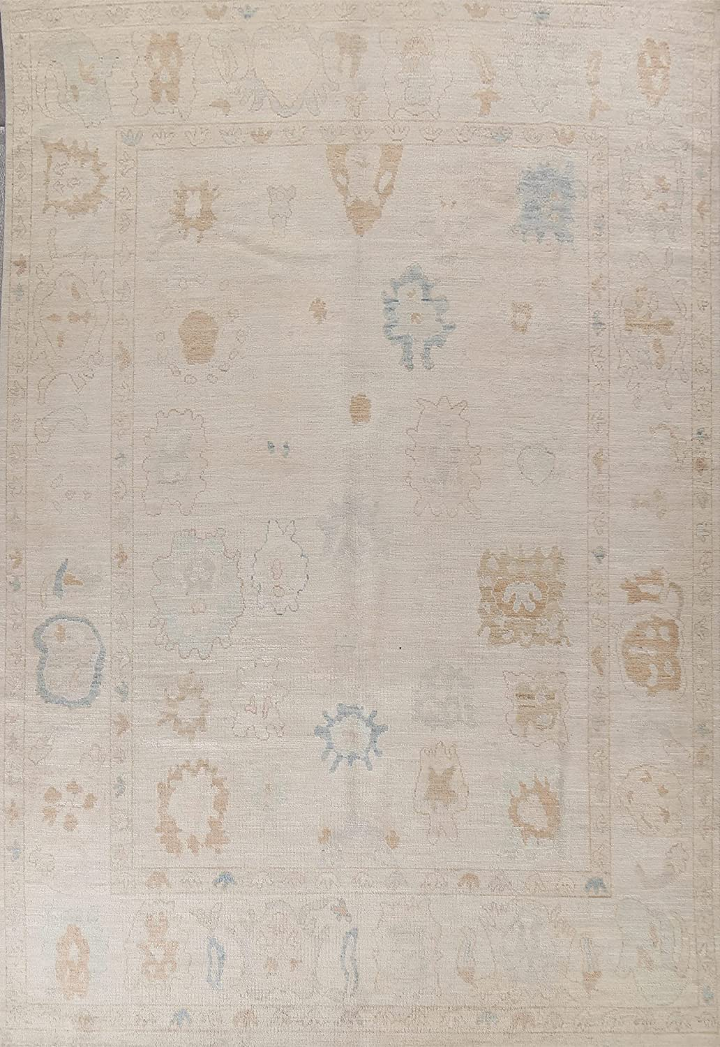 Floral Vegetable Dye Muted Oushak Area Hand-Knotted Rug It is very popular Popular brand Turkish