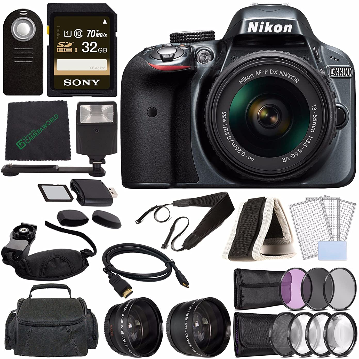 Nikon D3300 DSLR Camera with 18-55mm Lens (Grey) + Sony 32GB UHS-I SDHC Memory Card (Class 10) + Remote + Flash + Cleaning Cloth Bundle lm85510709