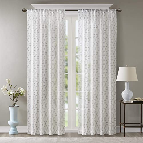 """popular Sheer Curtains For Bedroom, Transitional Fabric White Sheer Curtains 84 inches long , Irina Embroidered Rod Pocket high quality 2021 Sheer Curtain , 50X84"""", 1-Panel Pack outlet online sale"""