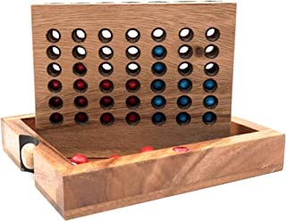 A Classic Board Games Connect a Row in 4 Made from Nature Wood with Unique Designs Wooden Box Game for Adults and Simple Board Games for Kids and Junior Gifts for a Whole Fun Family Games