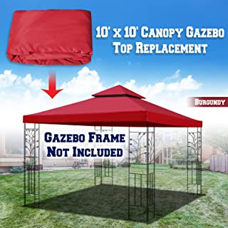BenefitUSA Replacement 10'X10' Gazebo Canopy Top Cover Patio Pavilion Sunshade Double Tiers (Burgundy)