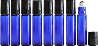 Cobalt Blue Glass Roll On Bottles with Stainless Steel Roller Balls (10 ml, 8 pk), Highest Quality