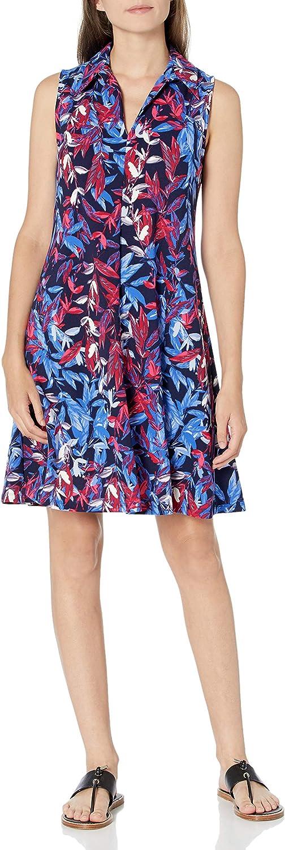 NINE WEST Women's Scuba Crepe Ranking TOP18 Price reduction Top Collared Sleeveless Dress