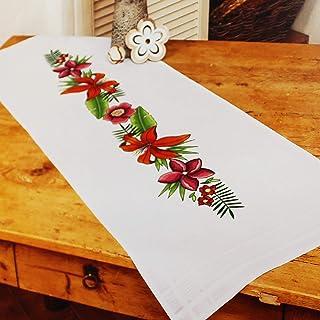 Kamaca Stickpackung Tischdecke LILIEN - ZAUBER Stielstich Plattstich Nadelmalerei vorgezeichnet aus Baumwolle Stickset mit Stickvorlage Tischläufer 40x100 cm