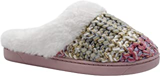 kensie Girls' Big Kid Slip On Plush Fluffy Shimmer Knit House Slippers with Faux Fur, Cute Warm Comfortable Shoes for Home