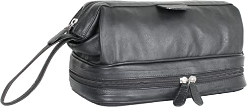 Carlucci Leather Deluxe Leather Toiletry Bag with Zip Drop Bottom, Rich Genuine Cowhide, 2 Big Compartments, Heavy Duty Zippers, Pull Handle, Leather Tabs. In Black