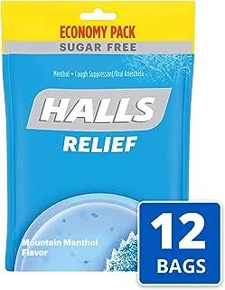 Halls Mountain Menthol Sugar Free Cough Drops - Bulk Pack - 840 Drops (12 packs of 70 drops)