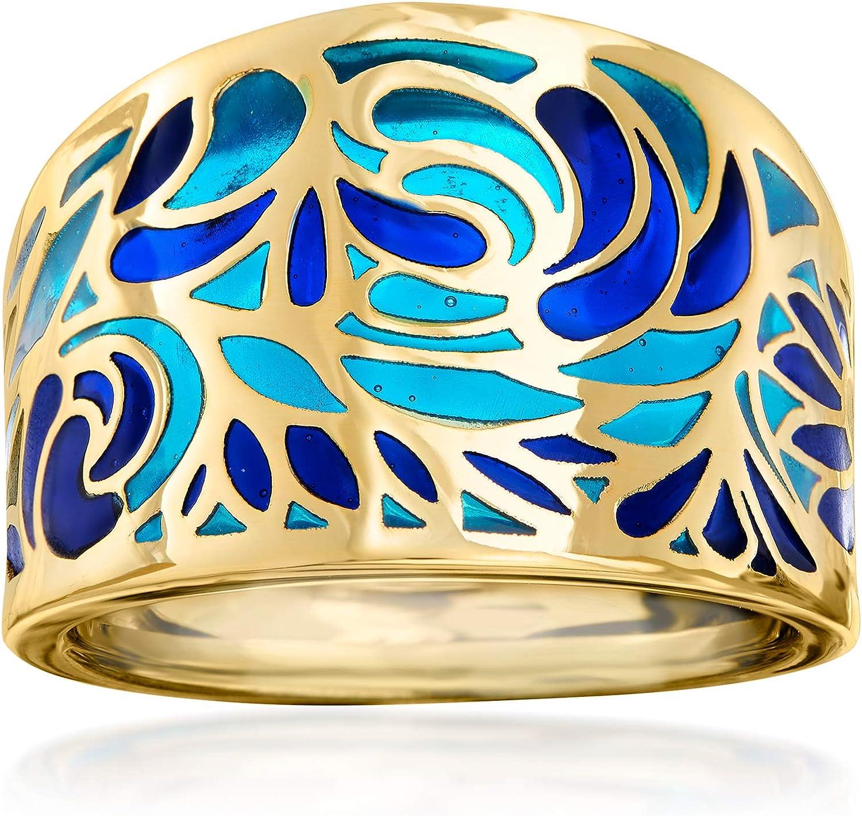 Ross-Simons Italian Blue Enamel Ring in 14kt Yellow Gold