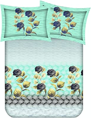 Spangle Homes XXL 100% Pure Cotton Super King Bedsheet for Double Bed, King Size 108 Inches X 108 Inches, 9 Feet, 275 X 275 cm with 2 Large Size Pillow Covers, (Design 17)