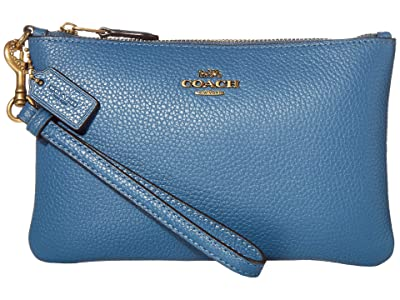 COACH Polished Pebble Small Wristlet (B4/Lake) Wristlet Handbags