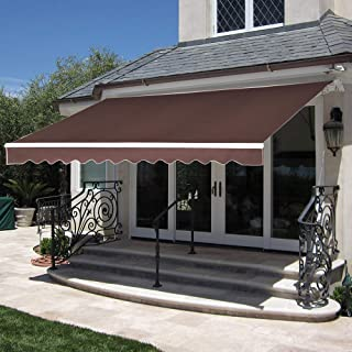MCombo 10x8 Feet Manual Retractable Patio Door Window Awning Sunshade Shelter Outdoor Canopy (Coffee Brown)