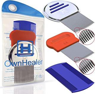 [Pack of 3] Head LICE Comb - for Fast Nit and Lice Removal - Best Results from OwnHealer, Package & Colors May Vary
