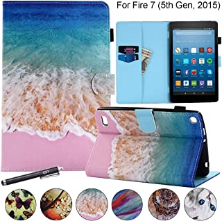 """Flip Case for Kindle Fire 7 2015, Newshine Magnetic Leather Stand Protective Case with Card Slots for Amazon Kindle Fire 7 (Only Fit Fire 7"""" Display 5th Generation 2015 Release) - Beach&Sea"""