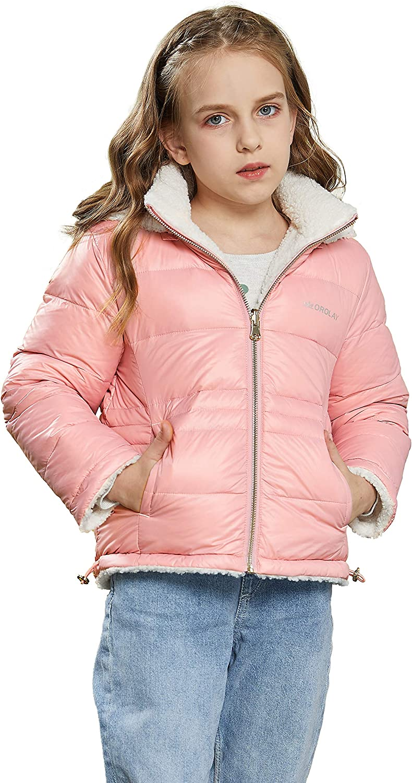 Orolay Girl's Fleece Down Jacket Boy's Warm Winter Coat Hooded Puffer Jacket