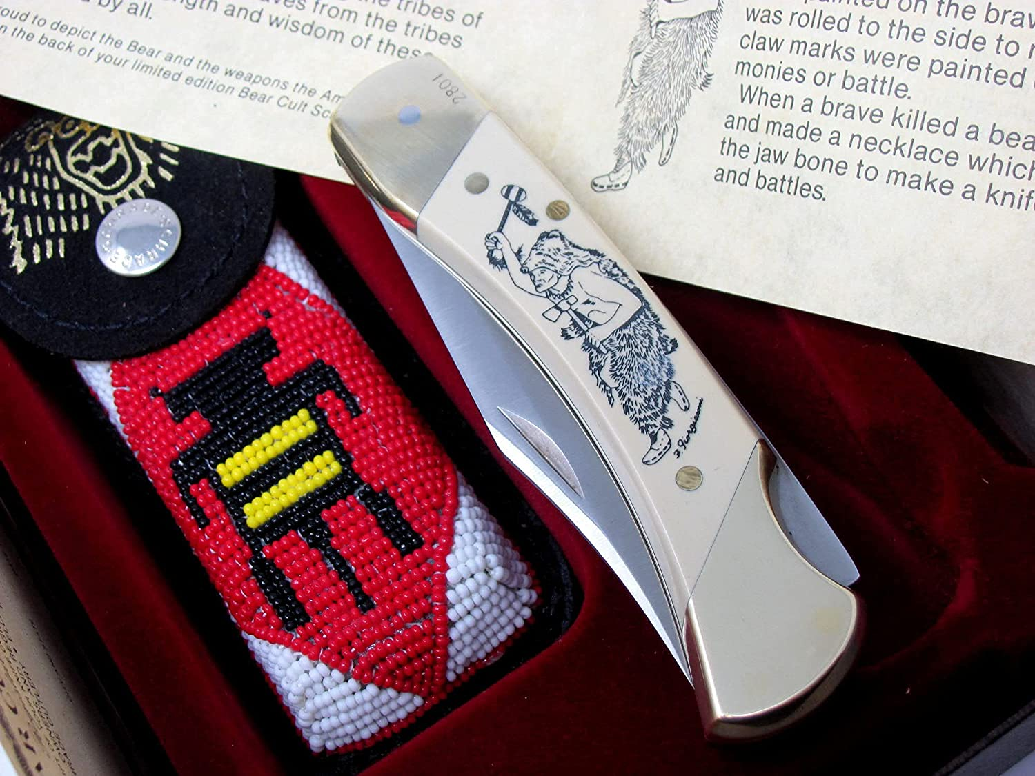 Vintage OFFicial Schrade Knives Bear Cult release series Indian First Discount mail order of