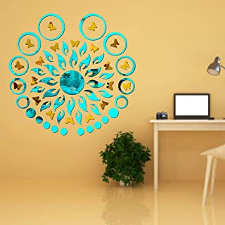 Best Decor Sun Flame 20 Ring Dot Blue with 20 Butterfly Golden Code 459 Acrylic Mirror 3D Wall Sticker Decoration for Kids...