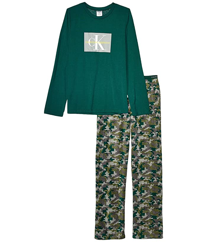 Piece Set Long Sleeve Top w/ Cozy Pants (Little Kids/Big Kids) (CK Dark Green/CK Basic Camo Green) Boy's Pajama Sets