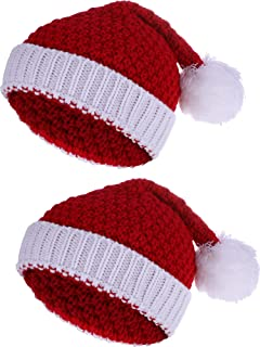 2 Pieces Christmas Beanie Winter Knitted Hat Crochet Santa Hat for Women and Men