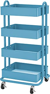 ECR4Kids 4-Tier Metal Rolling Utility Cart - Heavy Duty Mobile Storage Organizer, Turquoise
