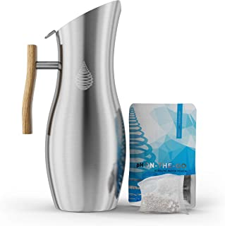 Invigorated Water pH Vitality Stainless Steel Alkaline Water Pitcher - Alkaline Water Filter Pitcher High pH Ionized Filtered Water - Includes Long Life Filter, 64oz 1.9L